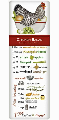 We treasure the recipe dish towel! Discover flour sack towels for every cook's decor and holidays. This one features an amazing recipe for perfect Chicken Salad.