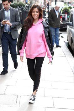 Madison Beer wearing Iamkoko.La Lace Up Leggings, H&M Pink Hooded Top and Acne Leather Biker Jacket