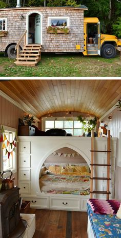 This bus transformed into a living space is giving new meaning to mobile home. And yes, that super cozy kid's bedroom is inside this tiny space, along with a loft and kitchen.