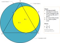 Geometry Problem 1362: Equilateral Triangle Inscribed in a Circle, Lunula, Ratio of Areas, Tangent, Sketch, iPad Apps