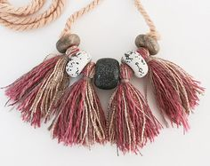 Polymer clay pendant with tassels by Kelaoke on Etsy