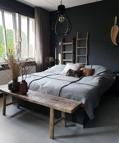 a dark bedroom for a good night's sleep 🖤 # cozy_bedroom inspiration Cozy Bedroom, Dream Bedroom, Home Decor Bedroom, Master Bedroom, Master Suite, Luxurious Bedrooms, Home Interior Design, Apartments Decorating, Decorating Bedrooms