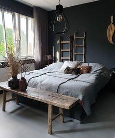 a dark bedroom for a good night's sleep 🖤 # cozy_bedroom inspiration Cozy Bedroom, Bedroom Inspo, Dream Bedroom, Home Decor Bedroom, Master Bedroom, Master Suite, Interior Design Living Room, Room Inspiration, Interior Inspiration