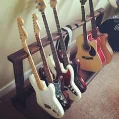 Mulitple Guitar Rack by sagambee on Etsy, $200.00 Guitar Storage, Guitar Rack, Guitar Stand, Music Studio Room, Studio Desk, Music Guitar, Jazz Guitar, Guitar Display Wall, Making Musical Instruments