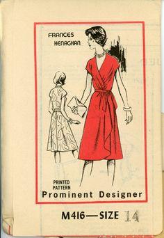 Mail Order M416 Frances Henaghan Draped Wrap Dress Pattern Flounce Skirt V Neckline Womens Vintage Mail Order Sewing Pattern Bust 36 UNCUT. $28.00, via Etsy.