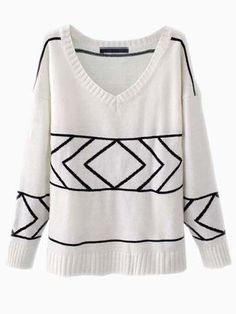 Simple Knit Sweater With Line Print | Choies