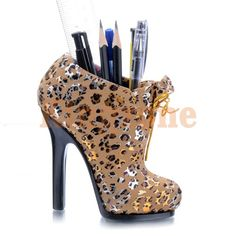 a00b7812264 New mini Boot Shoes Beige Leopard Printed Display Pen Case Box Holder  Holders Animal Print Fashion