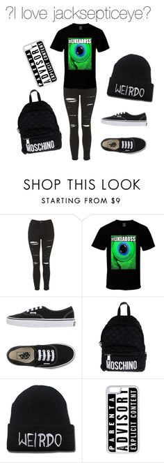"""#jacksepticeye"" by beastgirl991 ❤ liked on Polyvore featuring Topshop, Vans, Moschino, CellPowerCases, women's clothing, women's fashion, women, female, woman and misses"