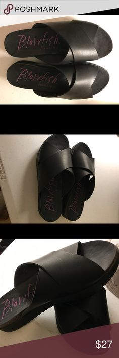 Black leather sandals This is a very nice pair of black leather sandals that have only been used once.  These are super comfortable. Blowfish Shoes Flats & Loafers
