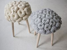 Knitted stool cushions by Claire-Anne O'Brien