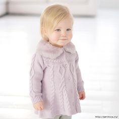Wonderful coat for girls with knitting needles Knitting Wool, Knitting For Kids, Crochet For Kids, Baby Knitting Patterns, Free Knitting, Knit Crochet, Crochet Motif, Knitting Needles, Baby Girl Dresses