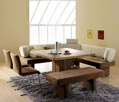Beau Unique Grey Rug For Modern Dining Room Remodeling Ideas With L Shaped  Uphostered Benches And Solid