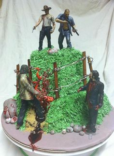 The Walking Dead cake done by me for my brother in law's birthday. Just to be clear, if I had my way, it would be DARYL and Rick on top ;) To order, visit my facebook page and send me a message! https://www.facebook.com/pages/Angel-Cakes/235886573203279