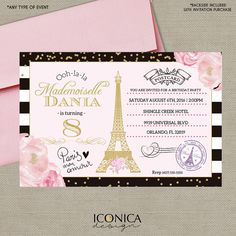 French Postcard Birthday Invitation BLACK & WHITE by IconicaDesign