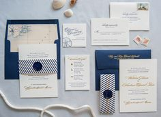 Preppy and Nautical Gold Foil Wedding Invitations by Gus & Ruby Letterpress / Photo by Brea McDonald Photography / Oh So Beautiful Paper Nautical Wedding Invitations, Wedding Invitation Wording, Printable Wedding Invitations, Wedding Stationery, Invitation Suite, Stationery Design, Wedding Paper, Wedding Cards, Wedding Bells