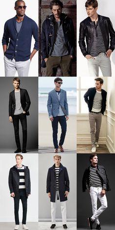 Men's Breton Striped Top Outfit Inspiration Lookbook