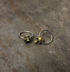 Skull Hoop Nipple Ring, Surgical Steel Captive Bead Earrings, Cartilage Helix Conch, Sold as single Hoop Surgical Steel Earrings, Nipple Rings, Conch, Bead Earrings, Hoop, Silver Rings, Skull, Beads, Unique Jewelry