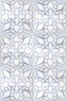 2018 Artisan Stone Tile Designs The Petals Pattern (Blue) shown on Carrara What's New In Fine Furnit Bathroom Floor Tiles, Wall Tiles, Kitchen Backsplash, Mosaic Tiles, Cement Tiles, Marble Mosaic, Carrara Marble, Blue Tiles, Stone Tiles