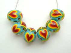 Hearts On Fire Set of Artisan Handmade Lampwork by imakebeads, $29.95