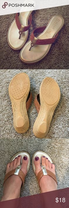 NWOT gold and cognac leather sandals Stunning gold and leather flip flops in a size 9.5. Run true to size, and will mold to your foot. These haven't been worn outside, I have too many shoes! Brand is Italian shoemakers, made in Italy. Macy's Shoes Sandals
