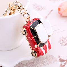 Hot!novelty trinket gifts Fashion Casual Crystal car Keychains Classic cars keyring charm 18K gold-plated women bag key holder