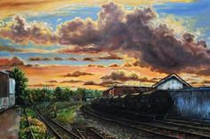 2014 glen drive railways sunset 48x38 canvas   2900