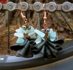 Recycled Bicycle bike Tube Hoop Earrings by maybirdjewelry on Etsy, $18.00