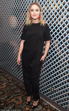 Basic and beautiful: Saoirse Ronan kept it simple and elegant in a black jumpsuit as she a...