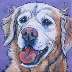 Sugar the Golden Retriever of dog blog www.sugarthegoldenretriever.com 6x6 acrylic on canvas