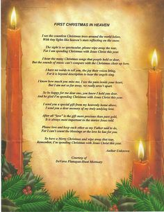 christmas in heaven poem printable | First Christmas In Heaven