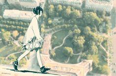 walk on the tower by pomodorosa #Pixiv Illustration