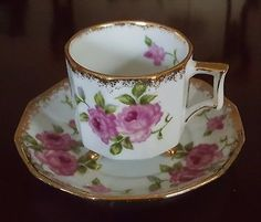 Vintage 3-Footed Porcelain Teacup & Saucer Hand Painted Roses Flowers Gold Trim