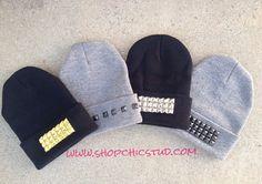 Studded Beanie Hat CHOOSE Stud Design & Color by Shop Chic Stud