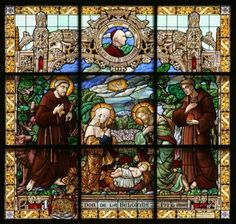 Nativity scene, stained glass, Church of St. Catherine, Bethlehem Stock Photo