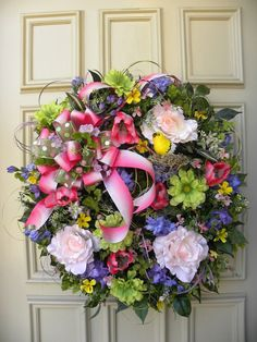 Spring Summer Floral Grapevine Door Wreath - Easter - Mother's Day - #DesignedbyJanfromBerdiesBloomers