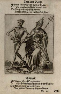 G3 - Le pape. Danse macabre du couvent des dominicains de Bâle (Suisse) (v. 1440). Gravure de Matthaeus Merian (1621).