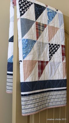 Sheets and Shirts on the Door, made from recycled shirts and sheets - Love it!