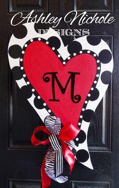 Heart Door Hanger, Valentine Heart  Door Decor, Valentine Wreath by DesignsAshleyNichole on Etsy https://www.etsy.com/listing/214848705/heart-door-hanger-valentine-heart-door