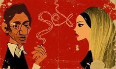Serge Gainsbourg & Brigitte Bardot | Illustrator: Paul Thurlby - http://www.paulthurlby.com