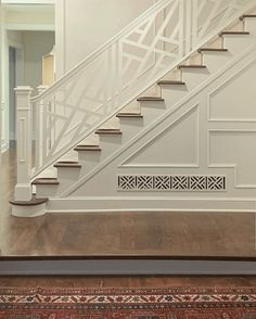 via - Chinese Chippendale Stair railing and grille cover - builder home upgrades Interior Stair Railing, Stair Railing Design, Home Stairs Design, Staircase Railings, Stairways, House Design, Spiral Staircases, House Stairs, Home Upgrades