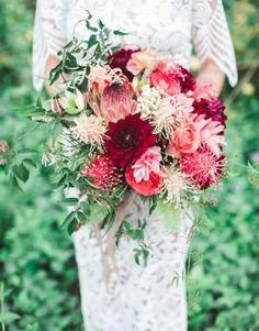 red + pink + white garden bouquet