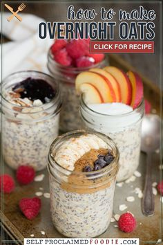 Overnight Oats are made with four simple ingredients. An easy healthy breakfast recipe tastes great and can be transformed with add-ins and toppings! This is the best grab-and-go breakfast and is perfect for busy families. Fun Easy Recipes, Ww Recipes, Real Food Recipes, Light Recipes, Popular Recipes, Free Recipes, Healthy Breakfast Recipes, Brunch Recipes, Healthy Breakfasts