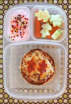 lunch ~ English Muffin Pizza- cold!  For the lunch box.  There is no direct link to this recipe, but it is an english muffin, sauce, pepperoni and cheese.