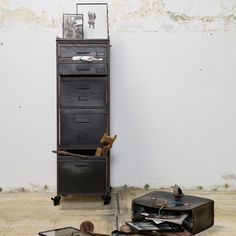 This industrial style cabinet would be a fantastic addition in a variety of rooms and offers a unique solution to storage in your home. Named Stuff, it's certainly more stylish than the average mundane organisational options and is great for your offic Industrial Interior Design, Home Interior, Decor Interior Design, Interior Decorating, Industrial Lockers, Metal Lockers, Industrial Style, Metal Drawer Cabinet, Metal Drawers