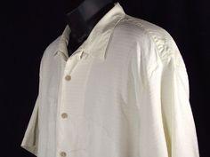 Tommy Bahama 100% Silk Hawaiian Camp Shirt Embossed Beach Palms Cream Size L  #TommyBahama #Hawaiian