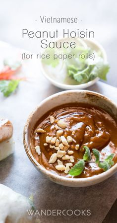 Peanut Hoisin Sauce for Rice Paper Rolls This dipping sauce is packed with crunchy crushed peanut and the perfect sweet and salty flavour So what are you waiting for Grab your cold rolls summer rolls or homemade rice paper rolls and let s get dipping Hoisin Sauce, Rice Paper Recipes, Vegetarian Rice Paper Rolls, Rice Recipes, Potato Recipes, Sauce For Rice, Peanut Dipping Sauces, Vegetarian Recipes, Cooking Recipes