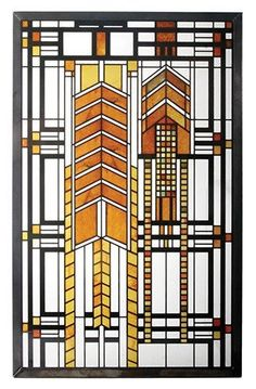 The Frank Lloyd Wright Autumn Sumac Stained Glass is adapted from a window in the Susan Lawrence Dana House in Springfield, Illinois. Stained Glass Designs, Stained Glass Panels, Stained Glass Patterns, Leaded Glass, Stained Glass Art, Mosaic Glass, Modern Stained Glass, Fused Glass, Glass Vase