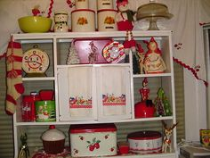 Kitchen Shelves are ready for Christmas! by thislittlepiggy, via Flickr
