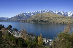 The view of The Rees Hotel overlooking Lake Wakatipu & The Remarkables