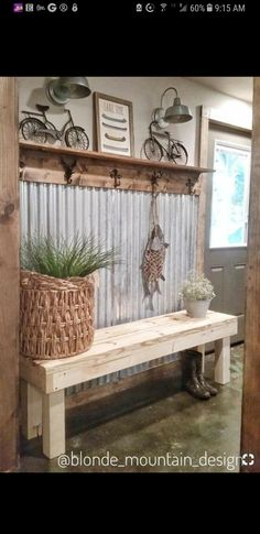 48 Amazing Farmhouse Entryway Mudroom Design Ideas - Farmhouse Decor - Make Up Hacks - Wire Wrapped Jewelry - Wedding Hairstyle - Best Home Decor Ideas Rustic Farmhouse Entryway, Country Farmhouse Decor, Farmhouse Style, Farmhouse Ideas, Rustic Decor, Farmhouse Design, Farmhouse Bench, Rustic Style, Farmhouse Interior
